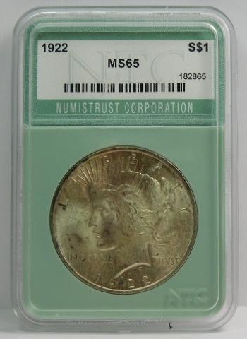1922 Silver Peace Dollar - NTC Graded MS65