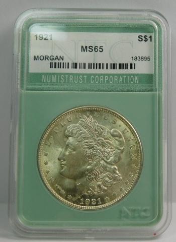 1921 Morgan Silver Dollar - NTC Graded MS65