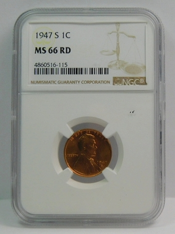 1947-S Lincoln Wheat Cent - NGC Graded MS66 Red - San Francisco Minted