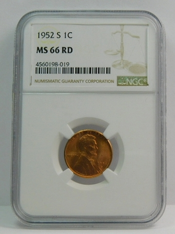1952-S Lincoln Wheat Cent - NGC Graded MS66 Red - San Francisco Minted