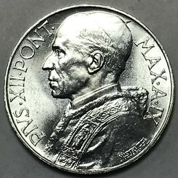 1947 Vatican City Pope Pius XII 10 Lira - Gem Brilliant Uncirculated