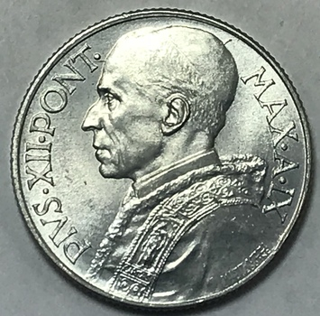 1947 Vatican City Pope Pius XII 5 Lira - Gem Brilliant Uncirculated