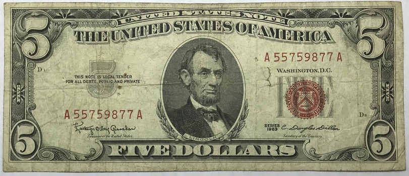 1963 $5 Red Seal Legal Tender U.S. Note