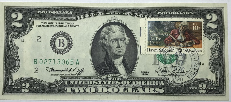 1976 $2 Federal Reserve Note - Bicentennial Commemorative Stamp - New York - Crisp Uncirculated Condition #2