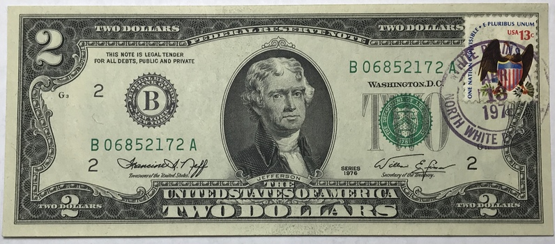 1976 $2 Federal Reserve Note - Bicentennial Commemorative Stamp - New York - Crisp Uncirculated Condition #1