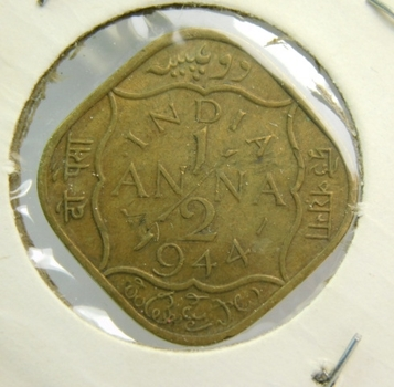 """1944 Anglo-Indian """"1/2 Anna"""" King George VI"""