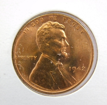 1942 US Lincoln One Cent Coin-Beautiful Red Uncirculated! Hand Selected From An Original Roll! Choice!