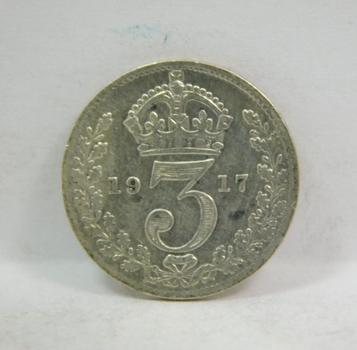 "1917 British Silver ""3 Pence"" King George V"