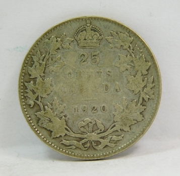 """1920 Canadian Silver """"25 Cents"""" King George V"""
