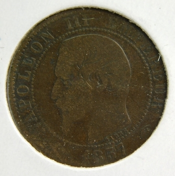 """1857 A France """"5 Centimes"""" Napoleon III"""