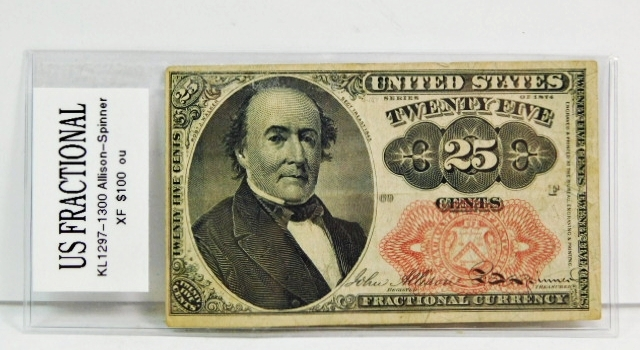 1874 Fifth Issue 25 Cents Fractional Note - Bust of Robert J. Walker, Secretary of Treasury from 1845-1849 - Nice Note!