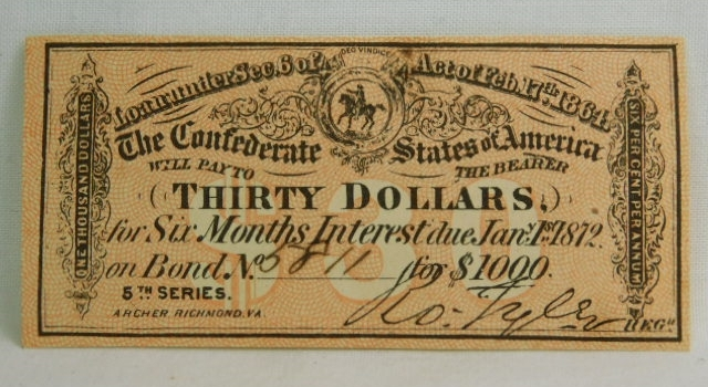 1864 $30 Confederate States of America Note from $1000 Civil