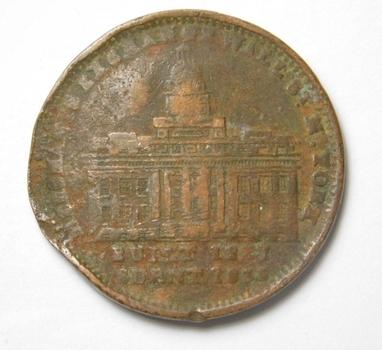 1835 Merchants Exchange Wall Street - Millions for Defence - Hard Times Token