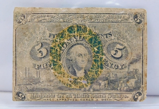 1863 Second Issue 5 Cent Fractional Note - Bust of George Washington in Bronze Oval Frame - Brown Reverse - Without Surcharge Variety