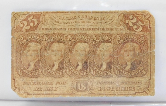 1863 First Issue 25 Cent Fractional Note - Straight Edges w/Monogram Variety