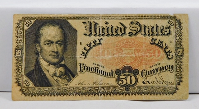1875 Fifth Issue 50 Cent Fractional Note - Bust of William H. Crawford, Secretary of both the War and Treasury Departments Under Presidents James Madison and Jame Monroe