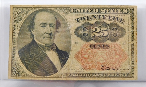 1874 Fifth Issue 25 Cents Fractional Note - Bust of Robert J. Walker, Secretary of Treasury from 1845-1849