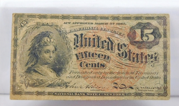 1869 Fourth Issue 15 Cent Fractional Note - Bust of Columbia - Large Red Seal Variety