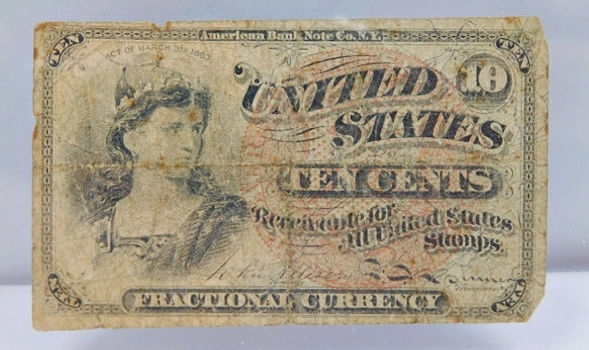 1869 Fourth Issue 10 Cent Fractional Note - Bust of Capped Liberty - Large Red Seal Variety