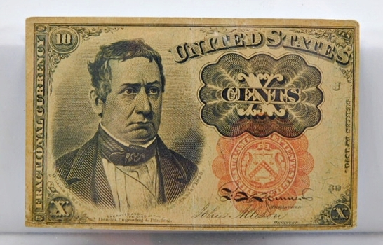 1874 Fifth Issue 10 Cents - Bust of William M. Meredith, Secretary of the Treasury 1849-1850 - Short, Thick Key Variety