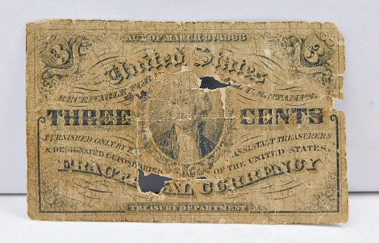 1863 First Issue 3 Cent Fractional Note - Bust of George Washington