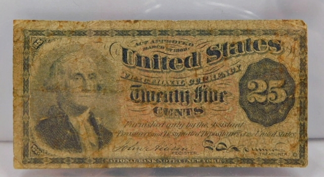 1869 Fourth Issue 25 Cent Fractional Note - Bust of George Washington - Large Red Seal Variety