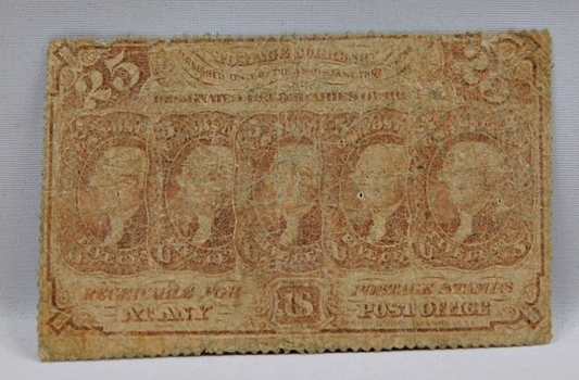 1863 First Issue 25 Cent Fractional Note - Perforated Edges w/o Monogram Variety