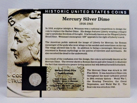 1936 Silver Mercury Dime - Housed in Story Board w/Signed COA - Jay Johnson, 36th U.S. Mint Director