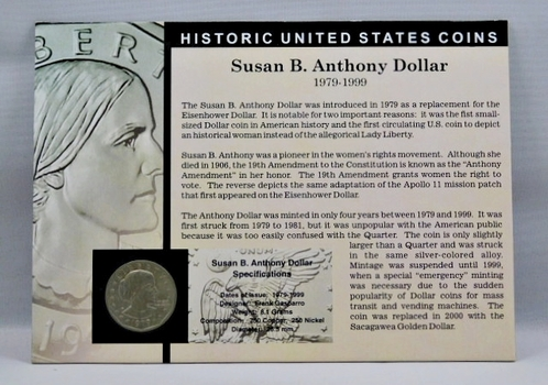 1979-P Susan B. Anthony Dollar - Housed in Story Board w/Signed COA - Jay Johnson, 36th U.S. Mint Director