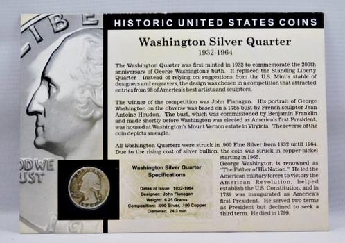 1949 Washington Silver Quarter - Housed in Story Board w/Signed COA - Jay Johnson, 36th U.S. Mint Director