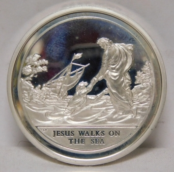 Large 1.6 oz Silver - Jesus Walks on the Sea - 1972 Silver Commemorative -Proof DCAM Condition