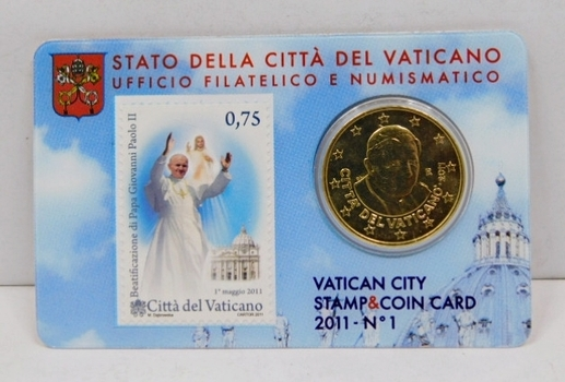 2011 Vatican City Pope Benedict XVI 50 Euro Cent Commemorative Coin and Stamp Card