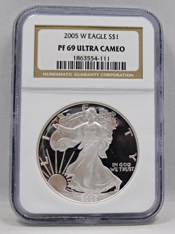 2005-W Proof American Silver Eagle - 1 oz .999 Fine Silver - Graded PF69 ULTRA CAMEO by NGC - Minted at West Point