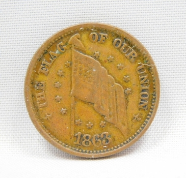 1863 Civil War Store Card Token - The Flag of Our Union - Sherwood & Hopson - China Emporium - Utica, New York
