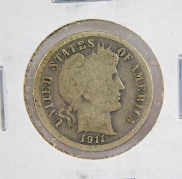 """1911-S/S Repunched """"S"""" Silver Barber Dime - San Francisco Minted"""