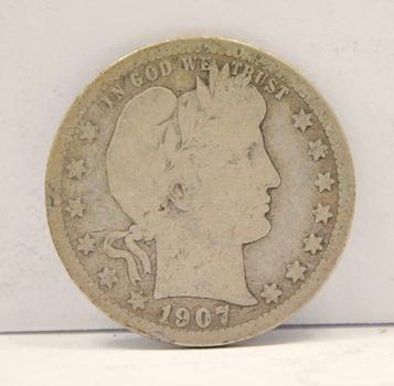 1907-S Silver Barber Quarter