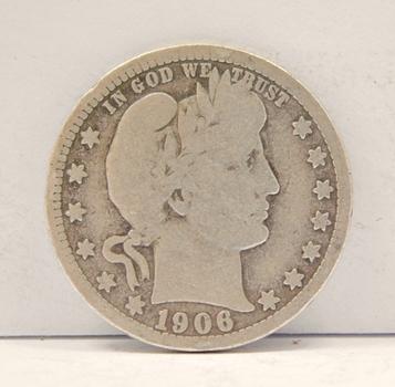 1906 Silver Barber Quarter
