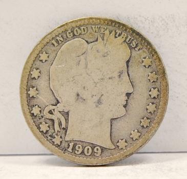 1909-S Silver Barber Quarter - San Francisco Minted