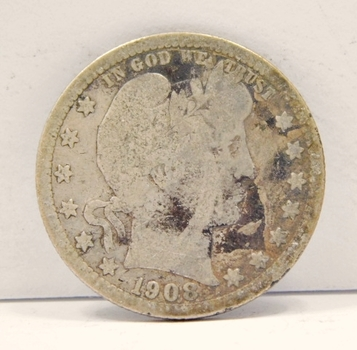 1908-O Silver Barber Quarter - New Orleans Minted