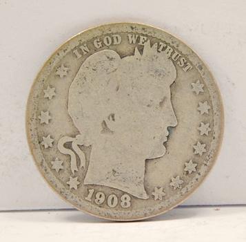 1908 Silver Barber Quarter