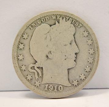 1910 Silver Barber Quarter
