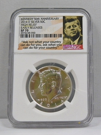2014-D High Relief Burnished - Early Releases - Silver Kennedy Half Dollar - NGC Graded SP70 - Kennedy 50th Anniversary