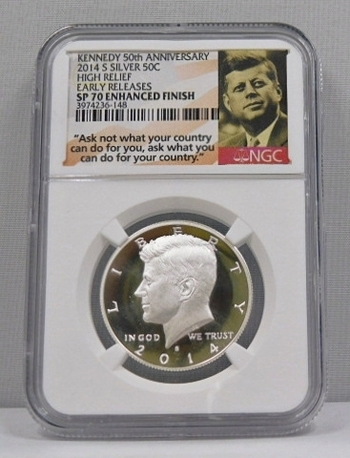 2014-S High Relief Enhanced Finish - Early Releases - Silver Kennedy Half Dollar - NGC Graded SP70 Enhanced Finish - Kennedy 50th Anniversary