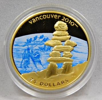 12 Gram - 2008 Canada $75 GOLD 2010 Vancouver Olympics Inuit Indian Inukshuk Stone Man Gold Commemorative