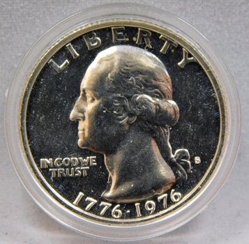 1776-1976-S Bicentennial Washington Silver Quarter - High Grade Proof Condition w/Deep Mirrors and Cameos