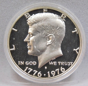 1776-1976-S Bicentennial Kennedy Silver Half Dollar - High Grade Proof Condition w/Deep Mirrors and Cameos