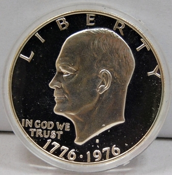 1776-1976-S Bicentennial Eisenhower Silver Dollar - High Grade Proof Condition w/Deep Mirrors and Cameos