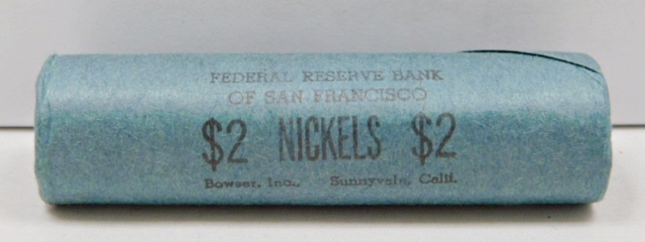 Unopened, Uncirculated Bank Roll of 1960-D Jefferson Nickels - $2.00 Face Value - Federal Reserve Bank of San Francisco