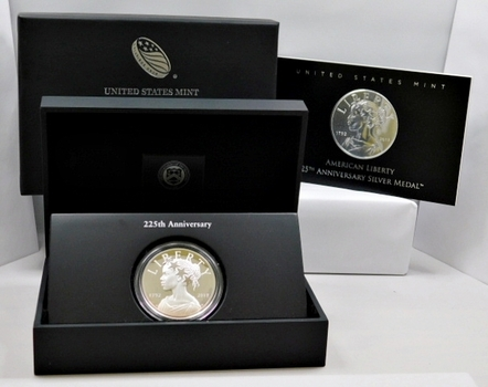 American Liberty 225th Anniversary Commemorative Proof Silver Medal in Original U.S. Mint Packaging