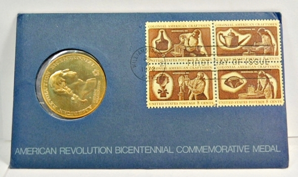 1972 American Revolution Bicentennial Commemorative Medal and FDC - George Washington - Sons of Liberty with Four 8c Stamps